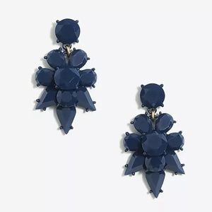 Navy Opaque Statement Dangle Earrings
